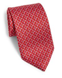 Ferragamo | Red Man On A Sled Silk Tie for Men | Lyst