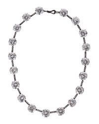 Bottega Veneta - Metallic Oxidized Sterling Silver Cubic Zirconia Necklace - Lyst