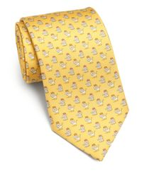 Ferragamo - Yellow Crowned Lion Silk Tie for Men - Lyst