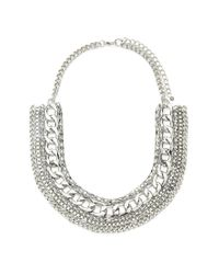 Forever 21 | Metallic Mixed Chain Statement Necklace | Lyst