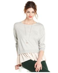 Maison Jules - Gray Long-Sleeve Crew-Neck Layered-Look - Lyst