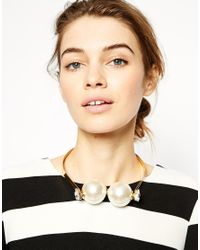 ASOS | Metallic Big Faux Pearl Choker Necklace | Lyst
