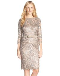 Tadashi Shoji | Natural Embroidered Lace Belted Dress | Lyst