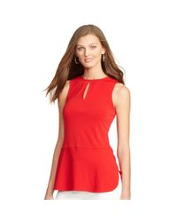 Ralph Lauren - Red Keyhole Sleeveless Top - Lyst