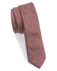 TOPMAN - Purple Burgundy Textured Tie - Burgundy for Men - Lyst