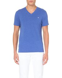 True Religion | Blue V-neck Jersey T-shirt - For Men for Men | Lyst