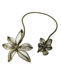Colette Malouf | Metallic Mesh Midnight Lily Necklace | Lyst