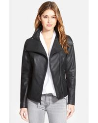 T Tahari | Black 'angelina' Zip Collar Leather Moto Jacket | Lyst