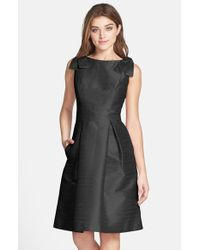 Alfred Sung | Black Bateau Neck Bow Shoulder Dupioni Dress | Lyst