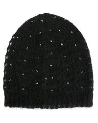 Saint Laurent - Black Loose Knit Beanie - Lyst