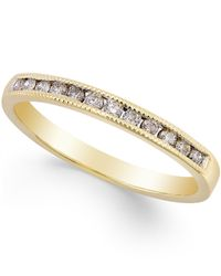 Macy's | Metallic Diamond Band Ring (1/5 Ct. T.w.) In 10k Gold | Lyst
