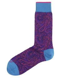 Duchamp | Purple Paisley Verdure Socks for Men | Lyst