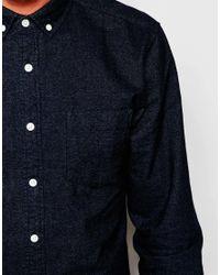 ASOS - Blue Brushed Oxford Shirt In Regular Fit for Men - Lyst