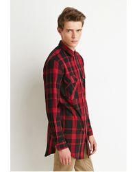 Forever 21 - Black Longline Plaid Shirt for Men - Lyst