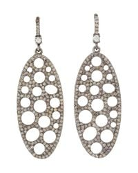 Bavna | Metallic Sterling Silver Earrings With Pave And White Rose Cut Diamonds | Lyst