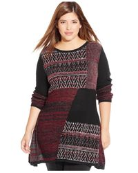 Style & Co. - Red Plus Size Pattern-blocked Sweater - Lyst