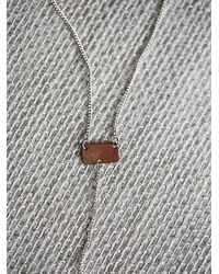 Free People - Pink Lariat Bar Necklace - Lyst