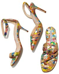 Manolo Blahnik - Multicolor Susa Painted Cork Sandals - Lyst