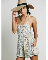 Free People - Blue Womens Sun Day Romper - Lyst