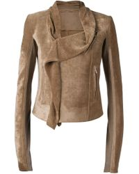 Rick Owens - Brown Cowl-Neck Wool-Blend Biker Jacket - Lyst