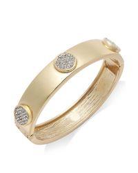 INC International Concepts - Metallic Goldtone Pave Disc Hinge Bangle Bracelet - Lyst