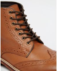 ASOS - Brown Brogue Boots In Tan Leather With Leather Sole for Men - Lyst
