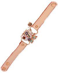 Betsey Johnson - Multicolor Rose Gold-Tone Woven Owl Leather Snap Bracelet - Lyst