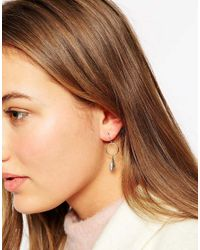Orelia | Metallic Mini Feather Hoop Earrings | Lyst