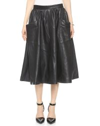 OAK - Harper Leather Skirt - Black - Lyst