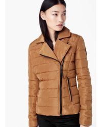 Mango - Brown Side-zip Quilted Coat - Lyst