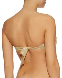OndadeMar | Metallic Ruffled Bandeau Bikini Top | Lyst