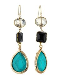 Panacea | Gray Mixed-crystal Triple-drop Earrings | Lyst