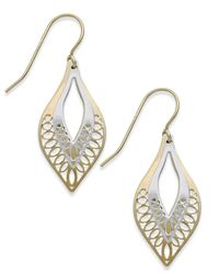 Macy's | Metallic Two-tone Cutout Drop Earrings In 10k Gold | Lyst