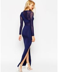 ASOS | Blue Curved Mesh Bodycon Maxi Dress | Lyst