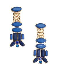 Kenneth Jay Lane - Blue Lapis And Gold Drop Earring - Lyst