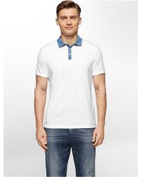 Calvin Klein | White Jeans Slim Fit Chambray Collar Cotton Polo Shirt for Men | Lyst