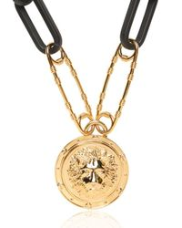 Versus - Black Lion Safety Pin Gold Plated Necklace - Lyst