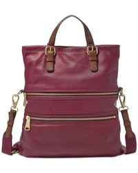 Fossil | Purple Explorer Leather Tote | Lyst