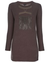 JOSEPH - Brown Fringed Sweater - Lyst