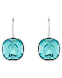Melissa Odabash | Blue Cushion Cut Swarovski Crystal Drop Earrings | Lyst