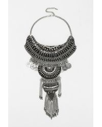 Urban Outfitters - Metallic Taza Leather Chain Statement Necklace - Lyst