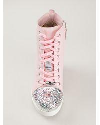 Nando Muzi - Pink Swarovsky Embellished Wedge Trainers - Lyst