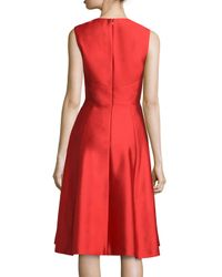 Lela Rose - Embroidered Shantung Sleeveless Dress - Lyst