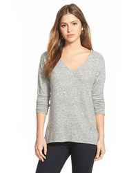 Gibson | Gray 'yummy Fleece' High/low V-neck Pullover | Lyst