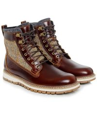 Timberland - Brown Men's Britton Hill Leather & Tweed Boots for Men - Lyst
