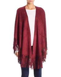 Alberto Makali | Red Faux Suede Fringe Poncho | Lyst