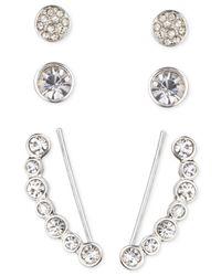 Nine West - Metallic Silver-tone Circular Crystal Ear Crawler And Stud Earring Set - Lyst