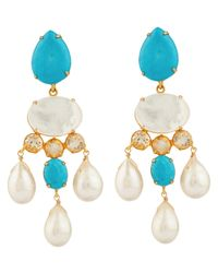 Bounkit | Blue Turquoise, Citrine, And White Pearl Earrings | Lyst