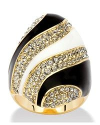 Palmbeach Jewelry - Metallic Grey Crystal Mod Cocktail Ring Made With Swarovski Elements In 14k Gold-plated - Lyst