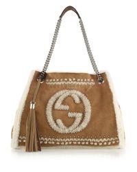 Gucci - Brown Soho Chain Shearling Shoulder Bag - Lyst